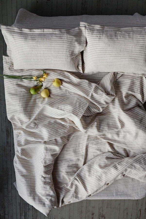 Bytový textil Lněné povlečení BEIGE STRIPES
