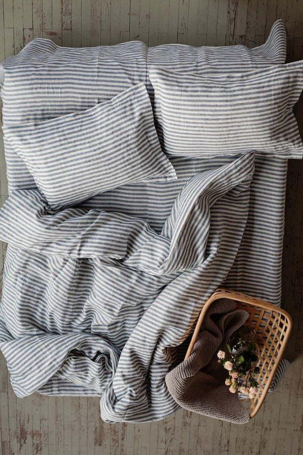 Bytový textil Lněné povlečení BLUE STRIPES