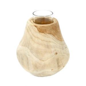 Bytové doplňky Svícen dřevo/sklo
