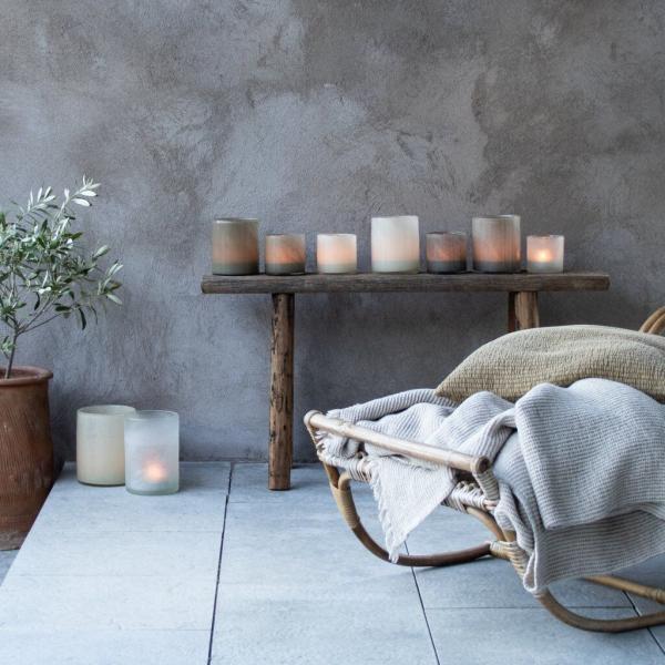 Bytové doplňky Svícen/váza GLASS Warm grey M