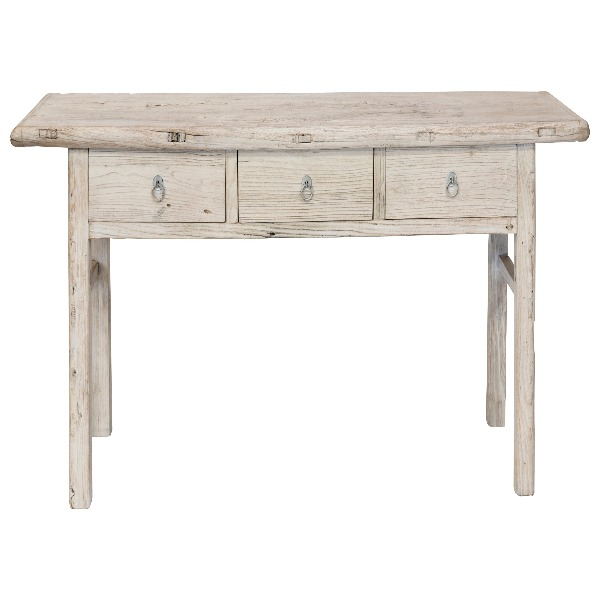Nábytek Konzolový stolek 3 zásuvky vintagwhite